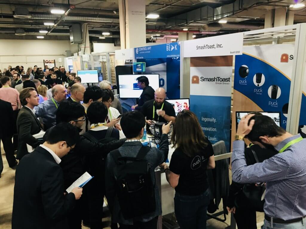 Live-action shot from SmashToast's PUCK booth at CES 2018!